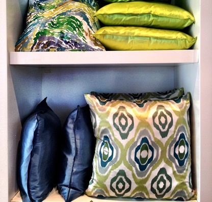 blue green pillows