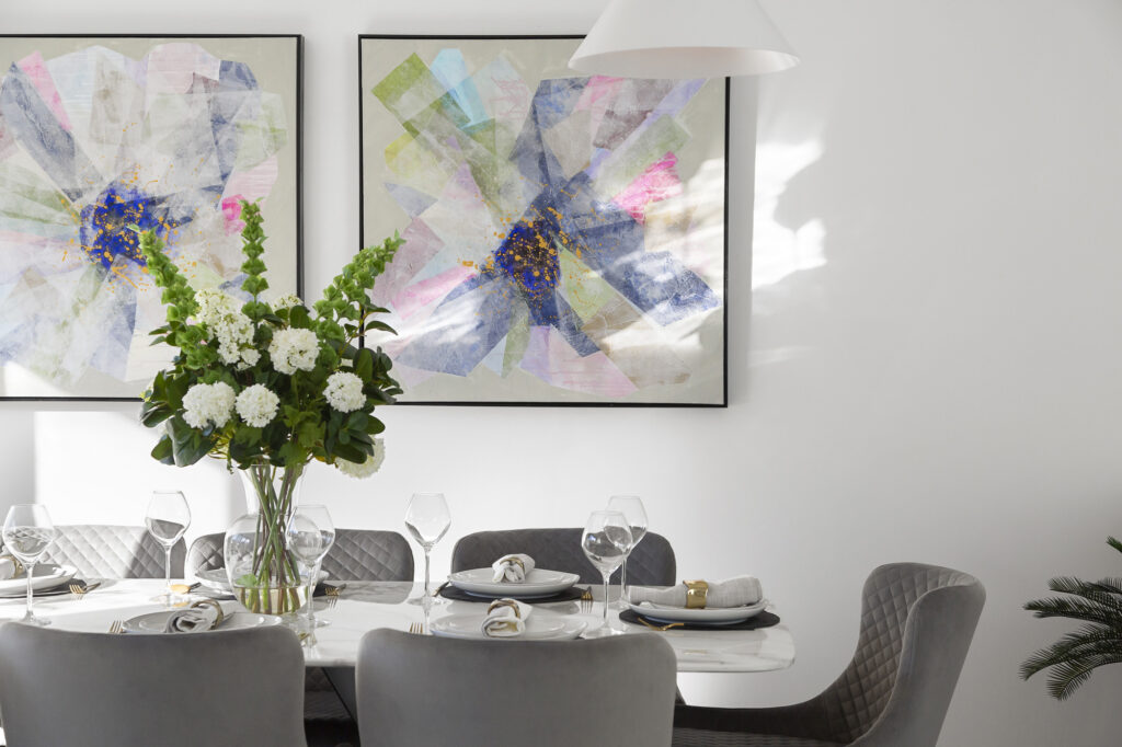dining table with artwork