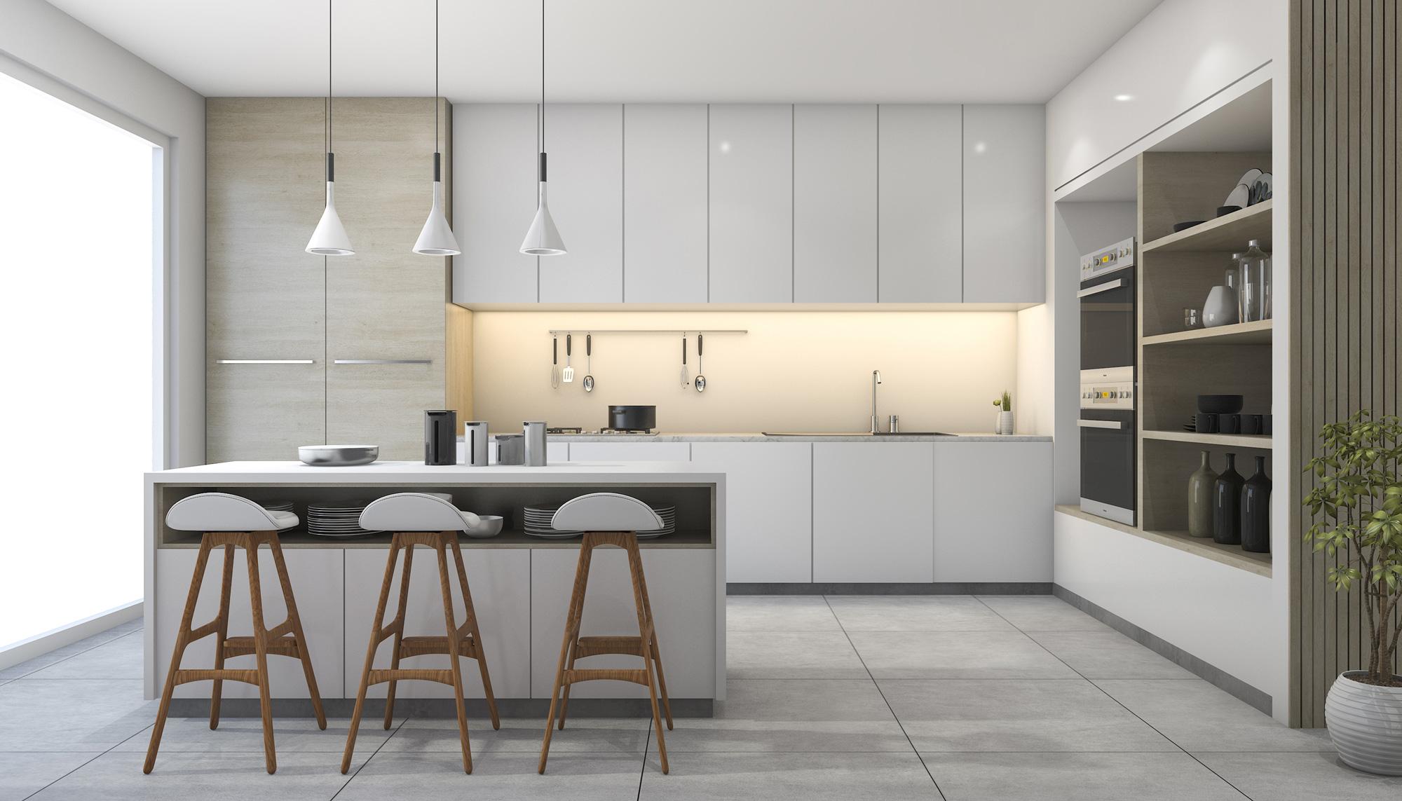 white modern design kitchen